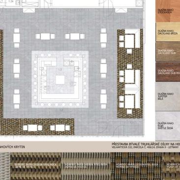 Pro hlavní zákaznické prostory byl zpracován kladečský plán se vzorky podlahových krytin. Studie pobočky v Praze Letňanech.