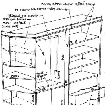 Vestavěné skříně – byt v Praze 10