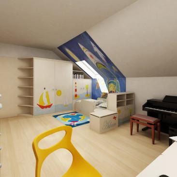 Nový interiér RD v Příbrami - dětský pokoj