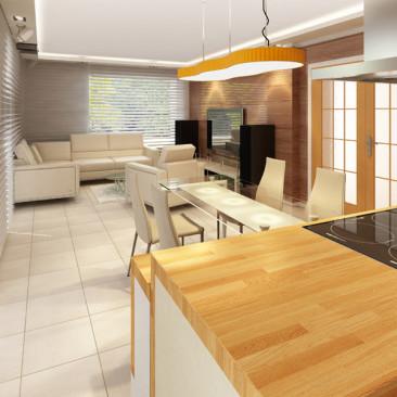 Nový interiér RD v Příbrami - obývací pokoj s jídelním stolem