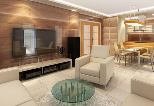 Nový interiér RD v Příbrami - obývací pokoj s kamenným obkladem stěn