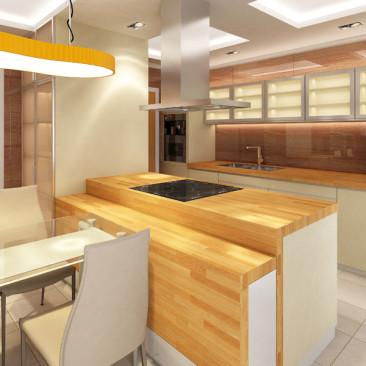 Nový interiér RD v Příbrami - obývací pokoj s kuchyňským koutem