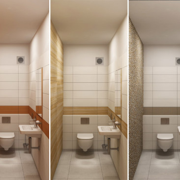 Nový interiér RD v Příbrami - varianty obkladu WC