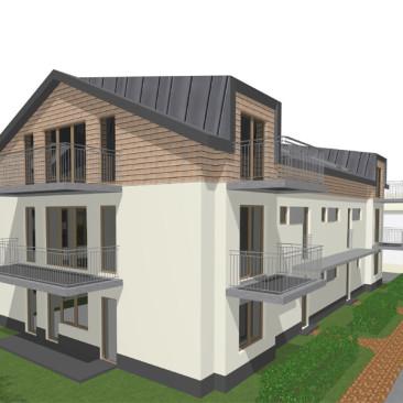 Studie proveditelnosti pro stavbu dvojdomů v Příbrami - návrh hmotového členění domů podle platné územní studie